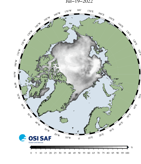 Map of Ice concentration for the Arctic Ocean